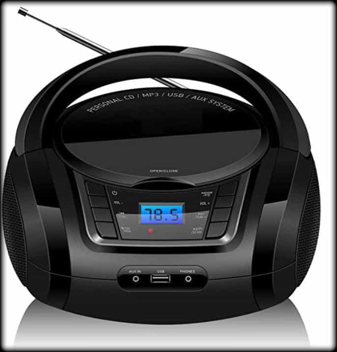radio portátil y reproductor de CD Lonpoo Portable